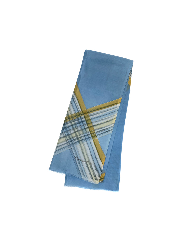 christian dior scarf silk blue yellow