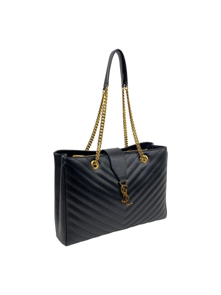 ysl saint laurent black tote quilted handbag grain de poudre Matelasse Chevron Monogram Shopping Bag