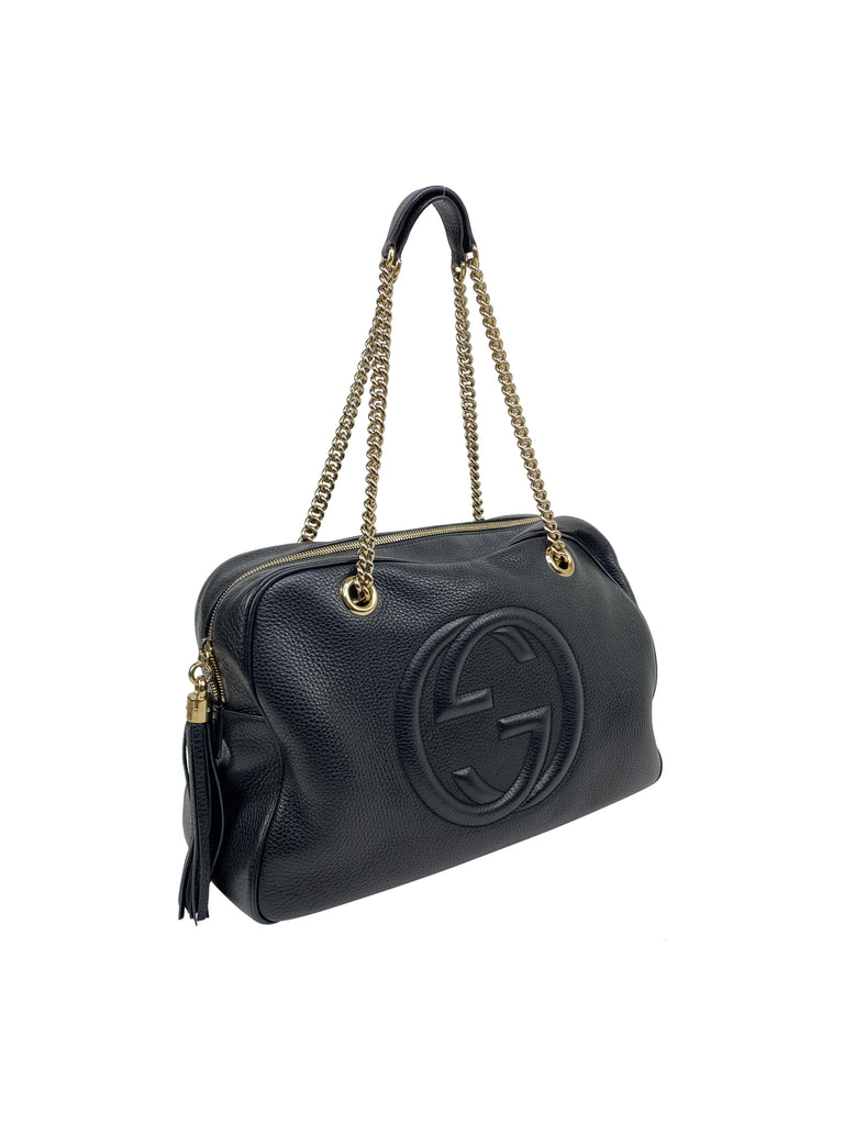 gucci Pebbled Calfskin Medium Soho Chain Shoulder Bag Black gold