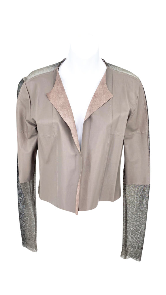 avid leather cardigan knit taupe