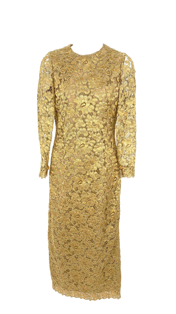 Chanel gold lace dress
