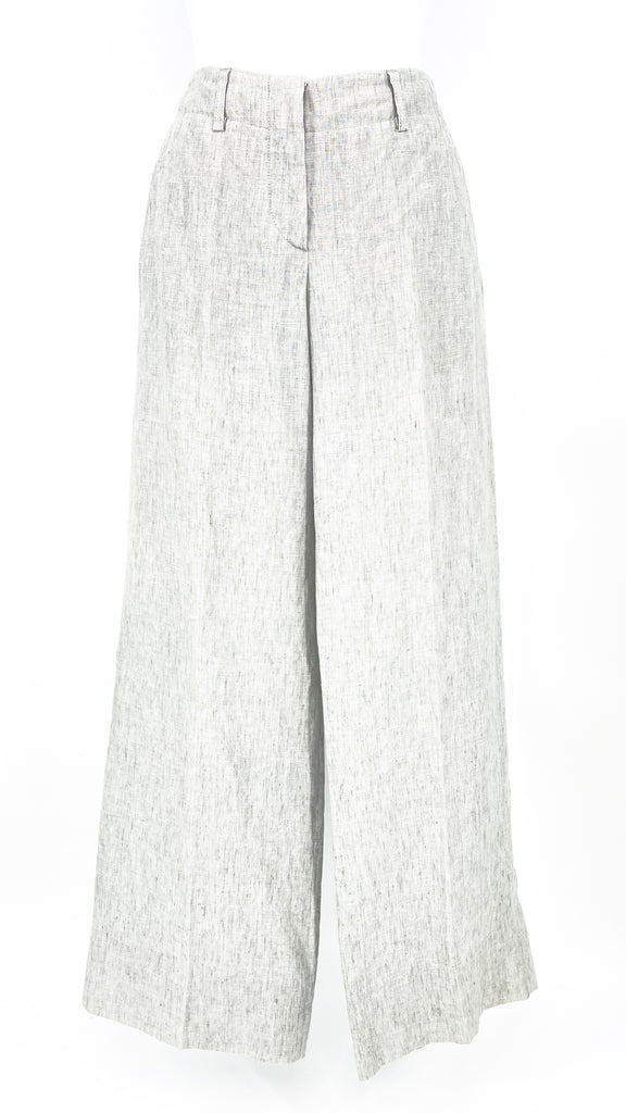 brunetto cucinelli wide leg grey pant linen