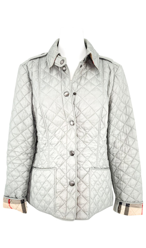 burberry grey quilted jacket
