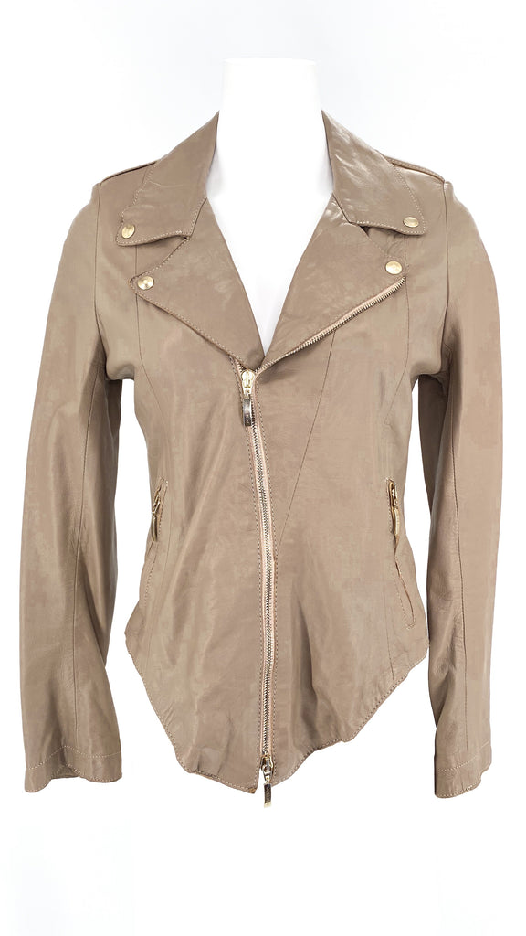 amen. taupe leather moto jacket