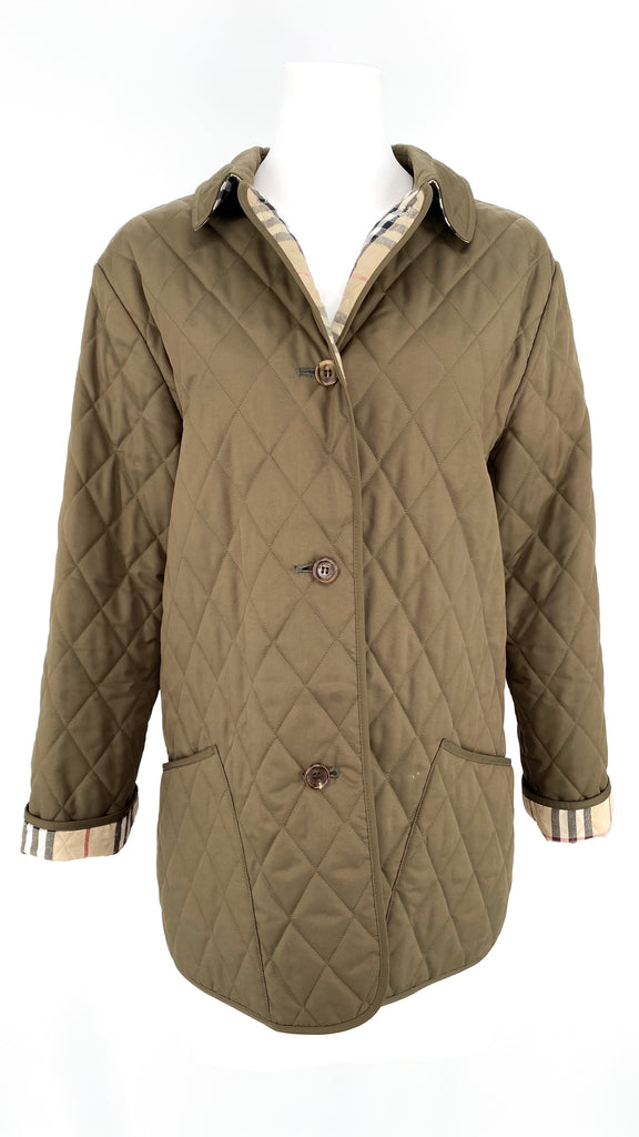 burberry olive brown quilted jacket