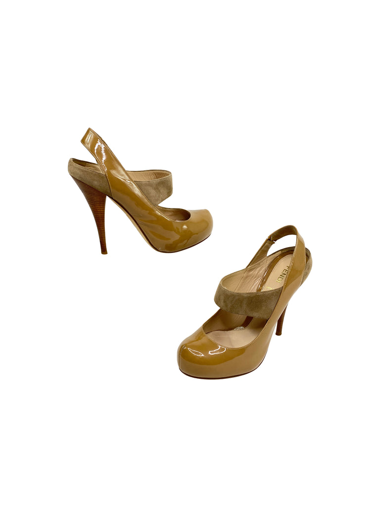 fendi nude patent leather heels platform pump