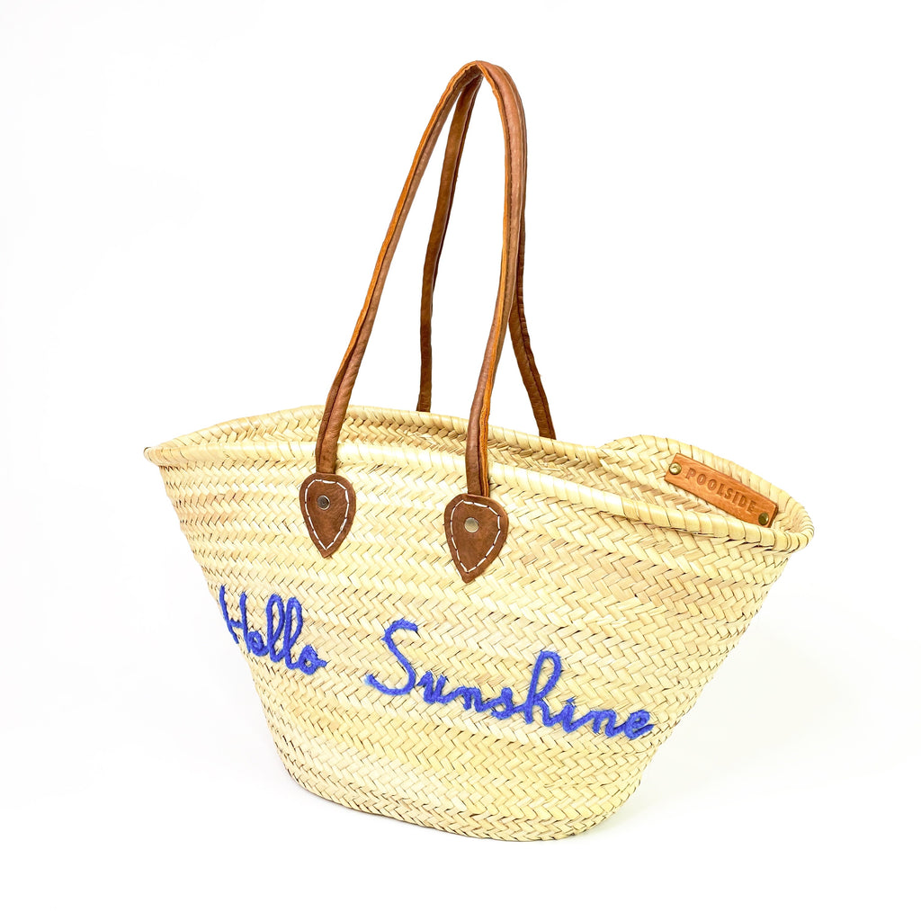 poolside straw tote hello sunshine
