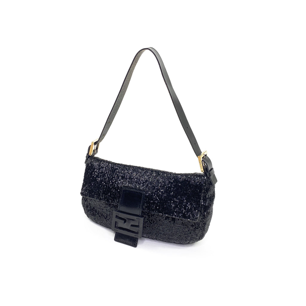 fendi black beaded baguette
