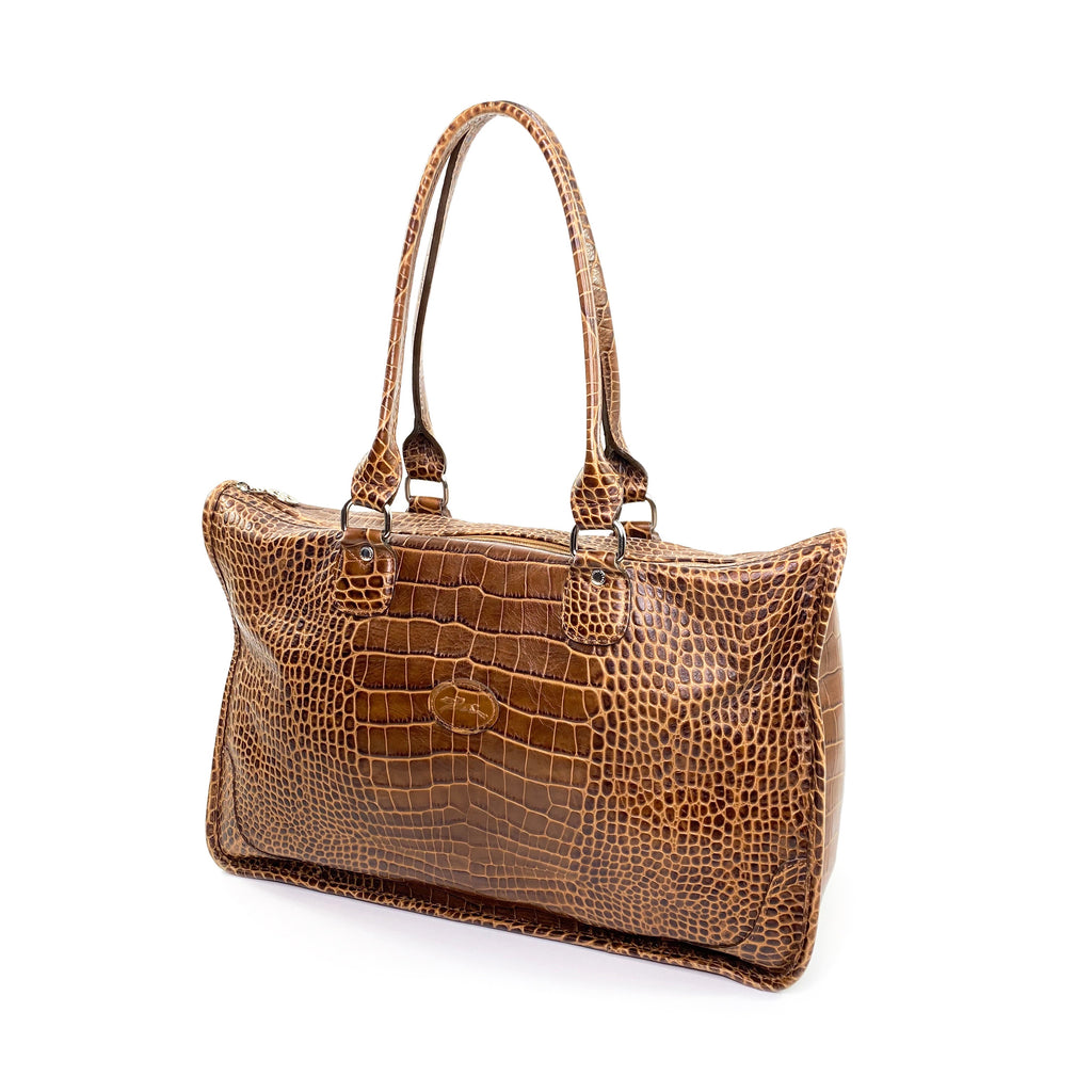 longchamp crocodile embossed tan handbag