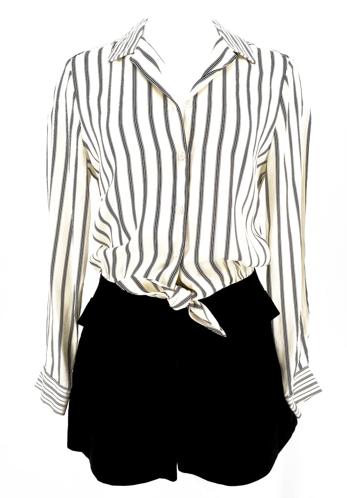 sandro buttondown romper black white stripe