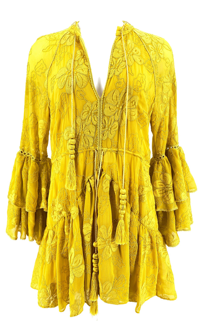 Alexis bell sleeve lace dress yellow