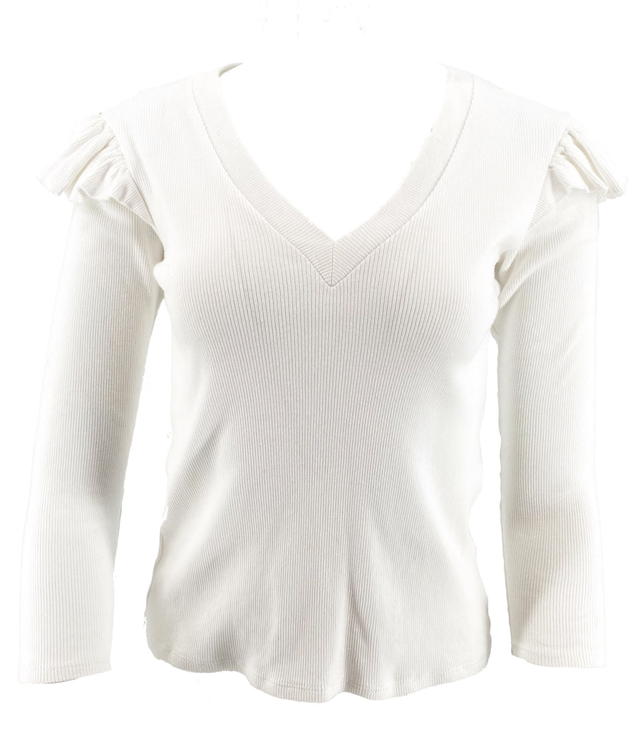 Veronica beard ruffle v neck top white