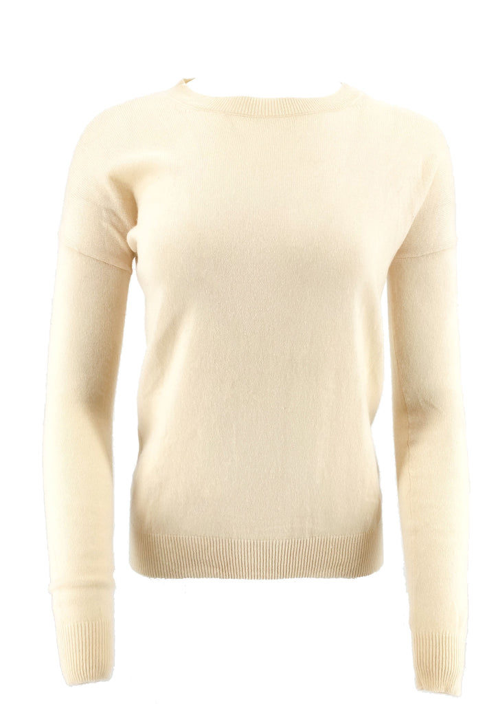 theory ivory crewneck sweater cashmere