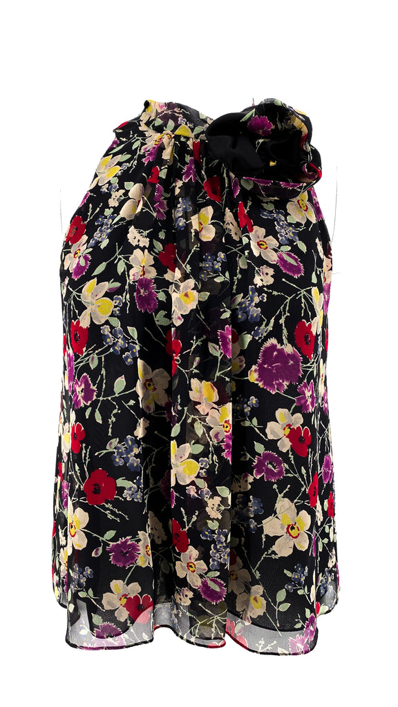 Rebecca Taylor floral blouse sleeveless black