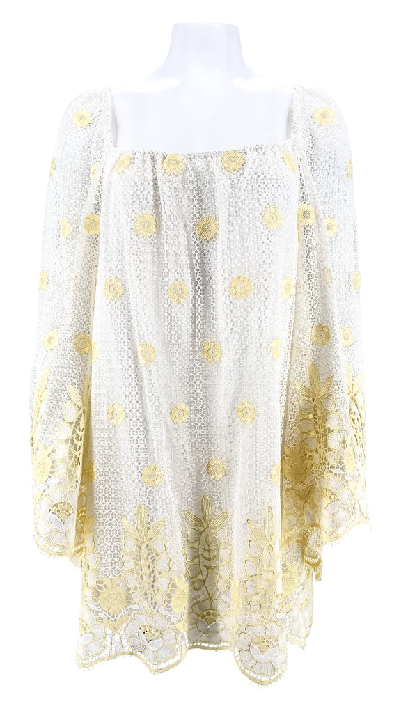 Miguelina Bell sleeve lace coverup white yellow