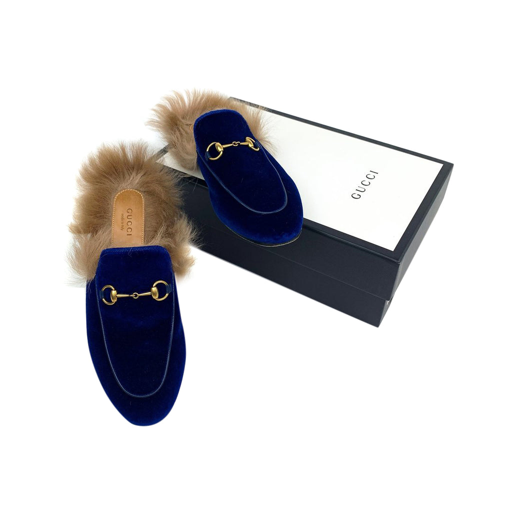 gucci Princetown loafers fur blue velvet