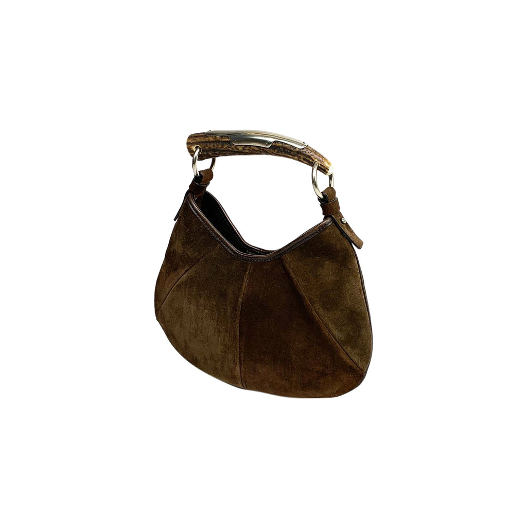 ysl mini suede hobo horn brown