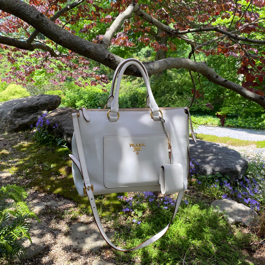 prada satchel white pebbled leather