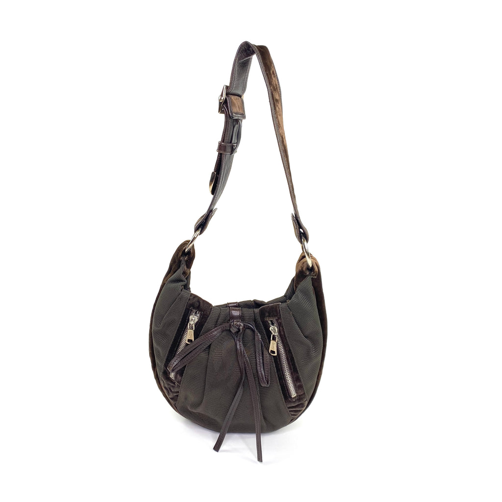 ysl mini hobo brown snake suede