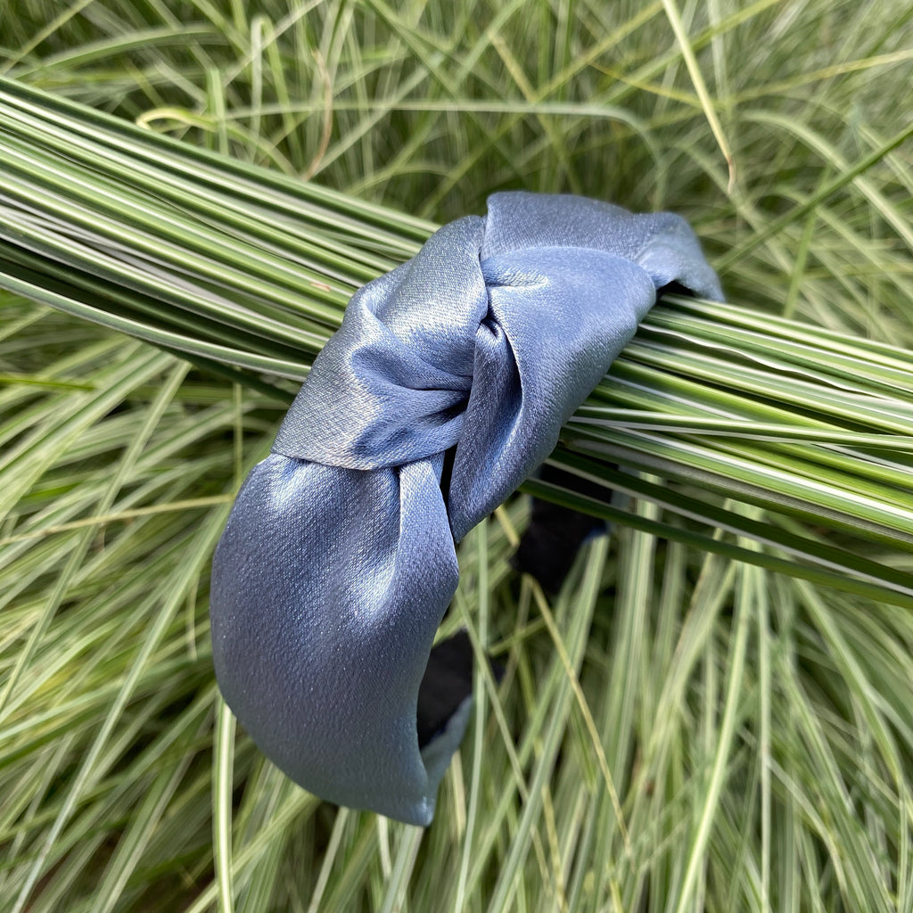 knot headband grey blue satin