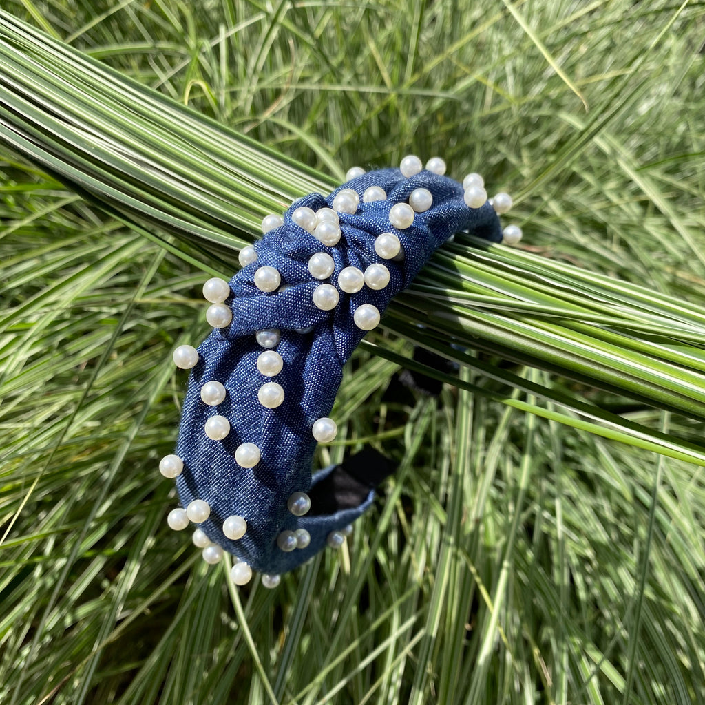 knot headband dark denim pearl