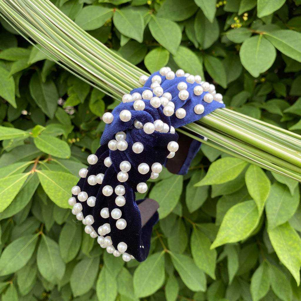 knot headband navy velvet pearls