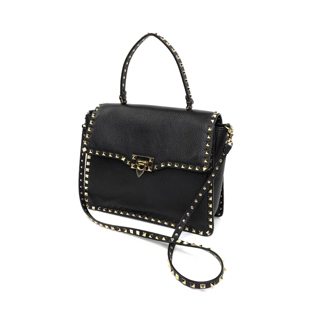 Valentino gravami rockstud leather tote top handle