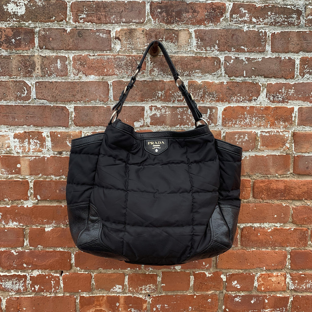 prada black nylon tote quilted
