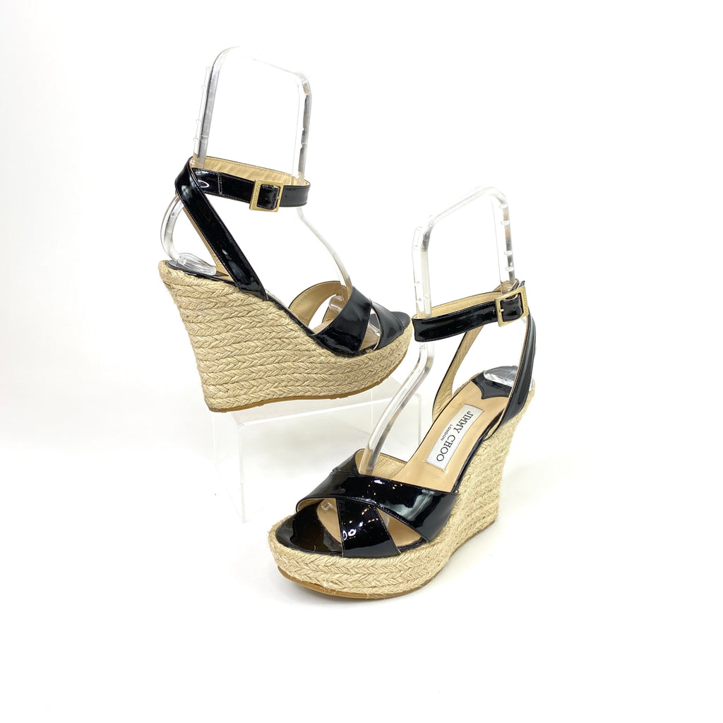 jimmy choo straw wedges nude black patent leather ankle strap sandals shoes designer