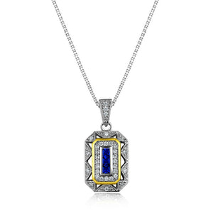 Gold & White Color Plated Blue Zirconia 925 Sterling Silver Pendant