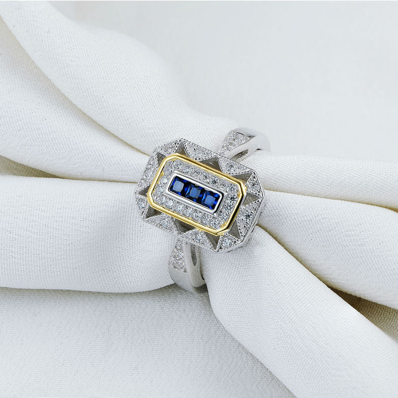 White & Gold Color Plated Solid 925 Sterling Silver Ladies Ring