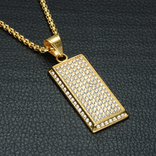 Micro Pave Stainless Steel Dog Tag Pendant