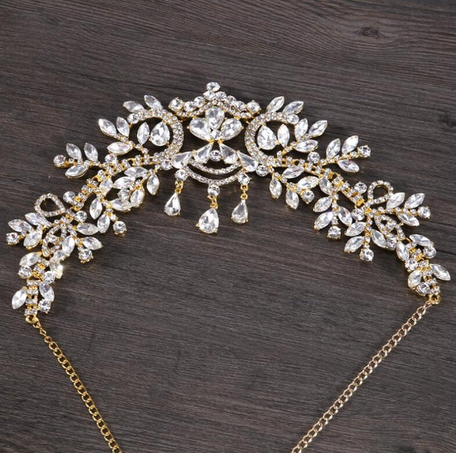 Bridal Rhinestone Tiara with Teardrop