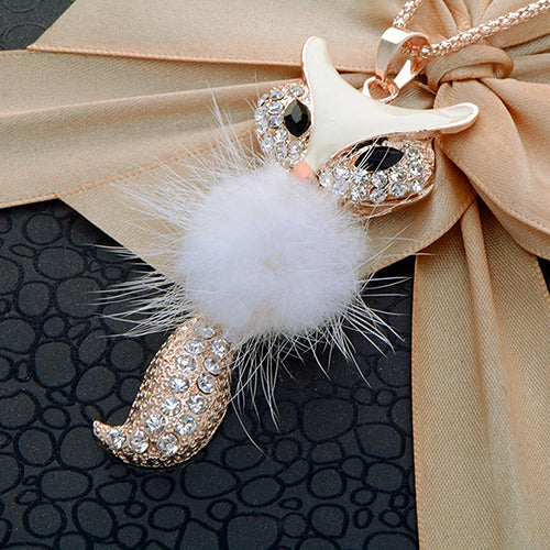 Feather And Rhinestone Fox Pendant