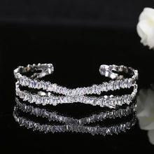 X Shape Adjustable Cubic Zirconia Cuff Bracelet