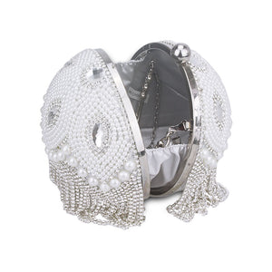 Round Pearl Fringe Beaded Evening Bag