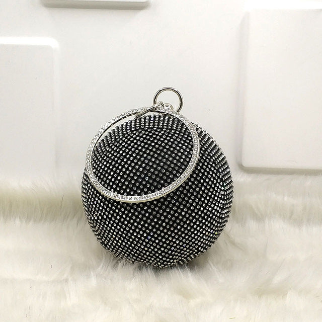 Round Rhinestone Evening Bag