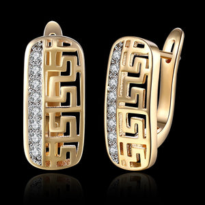 Laser Cut Swarovski Crystal Micro-Pav'e Lined Huggie Hoop Earrings Set in 18K Gold