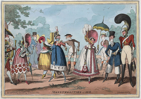 Monstrosities of 1818, extravagant clothing styles of men's and women's fashions.