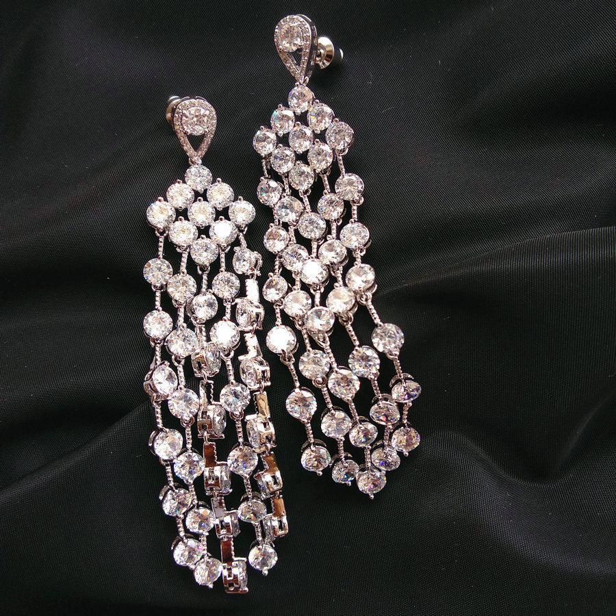 'Blossom' White Cut Tassel Drop Earrings - The Royal Look For Less