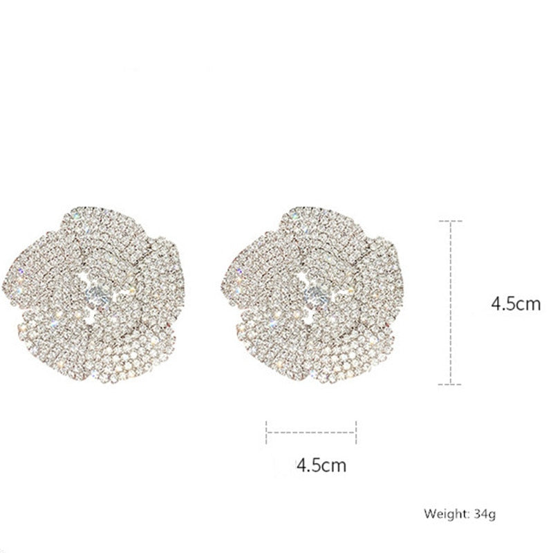 'Rosie' Rhinestone Crystal Flower Stud Earrings - The Royal Look For Less