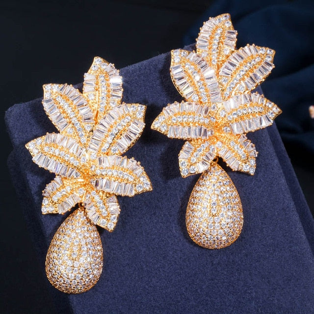 'Tilly' 3 Tone Gold Luxury Pave Drop Earrings - The Royal Look For Less