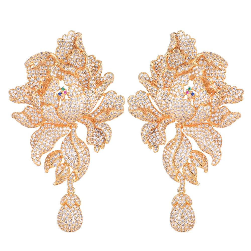 'Ella' Luxury Peony Flower Blossom Drop Earrings - The Royal Look For Less