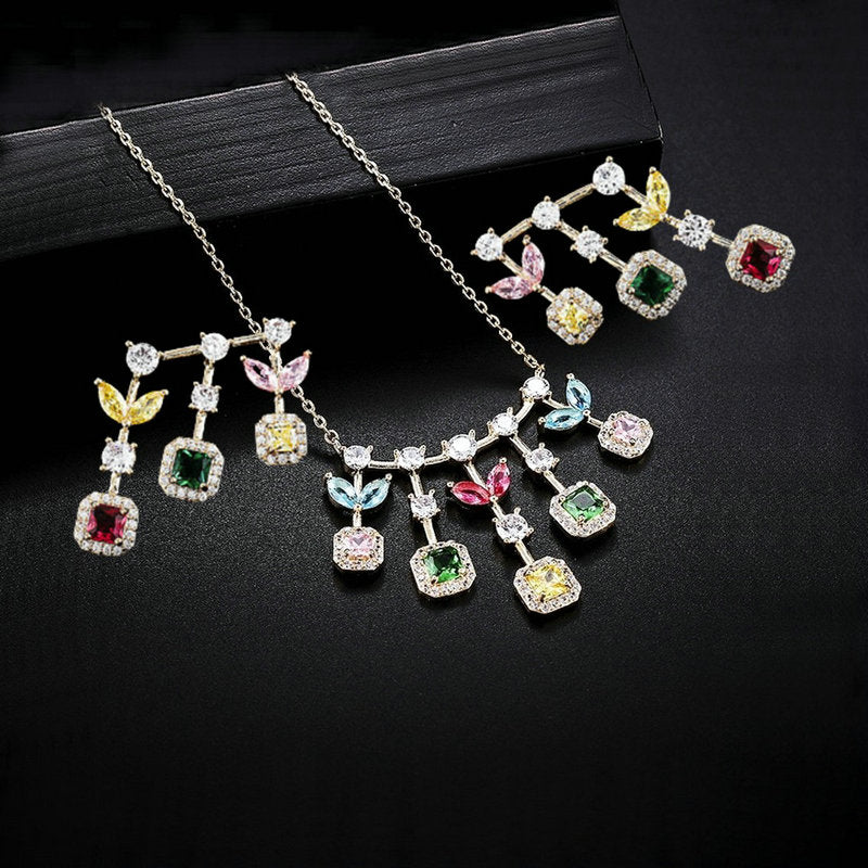'Darcy' Multi Colour Necklace & Earring Set - The Royal Look For Less