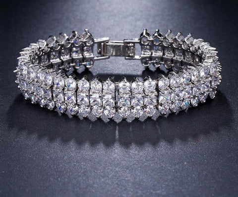 'Georgina' Luxury Crystal 3 Rows Zircon Bracelet - The Royal Look For Less
