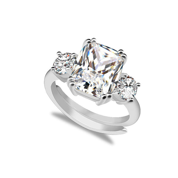 2019  Meghan Markle Engagement White Crystal Ring Replica (Resizable) - The Royal Look For Less