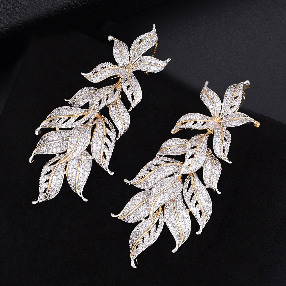 'Sinead' Dainty Leaves Drop Earrings - The Royal Look For Less