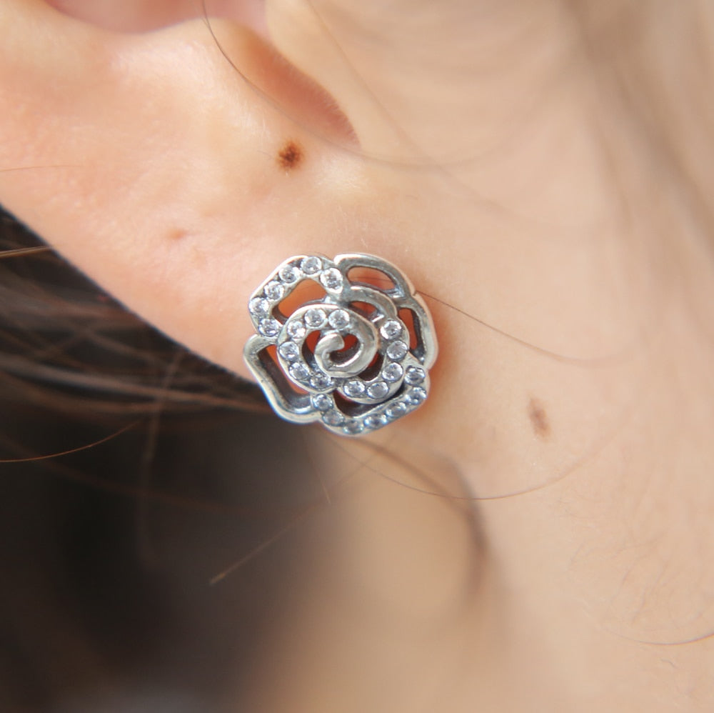 Rose Flower CZ Sterling Silver Stud Earrings - The Royal Look For Less