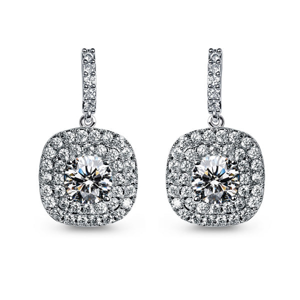 Cubic Zirconia Paved Halo Earrings - The Royal Look For Less