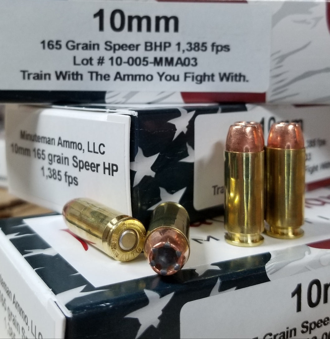 10mm 165 grain Speer HP @ 1,400fps